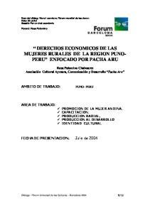 DERECHOS ECONOMICOS DE LAS MUJERES RURALES DE LA REGION PUNO- PERU ENFOCADO POR PACHA ARU