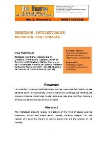 DERECHOS INTELECTUALES. ASPECTOS REGISTRALES