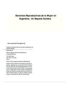 Derechos Reproductivos de la Mujer en Argentina: Un Reporte Sombra