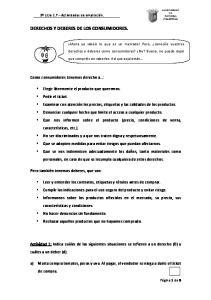 DERECHOS Y DEBERES DE LOS CONSUMIDORES