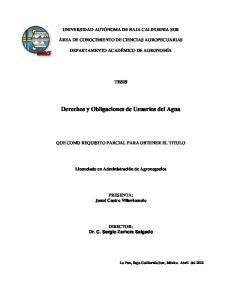 Derechos y Obligaciones de Usuarios del Agua