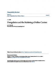 Deregulation and the Marketing of Airline Carriers