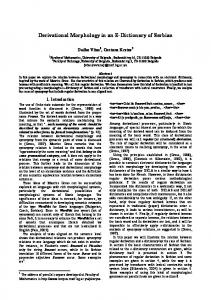 Derivational Morphology in an E-Dictionary of Serbian