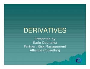DERIVATIVES Introduction Forward Rate Agreements FRA Swaps Futures Options Summary