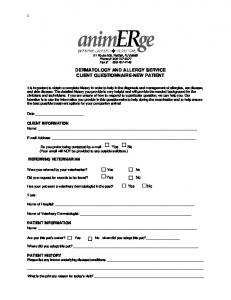 DERMATOLOGY AND ALLERGY SERVICE CLIENT QUESTIONNAIRE-NEW PATIENT