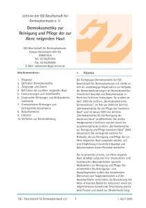Dermokosmetika zur Reinigung und Pflege der zur Akne neigenden Haut