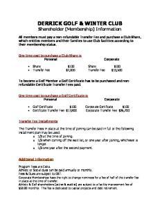 DERRICK GOLF & WINTER CLUB Shareholder (Membership) Information