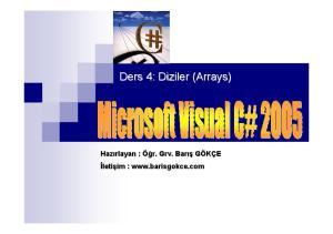 Ders 4: Diziler (Arrays( Arrays) barisgokce.com