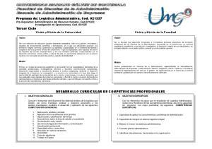 DESARROLLO CURRICULAR DE COMPETENCIAS PROFESIONALES