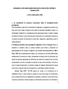 DESARROLLO DE HABILIDADES SOCIALES A PARTIR DEL DEPORTE- RECREATIVO