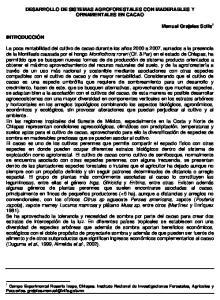 DESARROLLO DE SISTEMAS AGROFORESTALES CON MADERABLES Y ORNAMENTALES EN CACAO