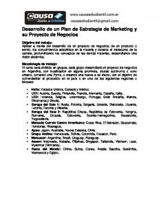 Desarrollo de un Plan de Estrategia de Marketing y su Proyecto de Negocios