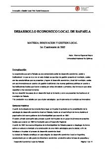DESARROLLO ECONOMICO LOCAL DE RAFAELA