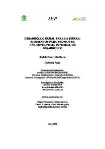 DESARROLLO RURAL PARA LA SIERRA: ELEMENTOS PARA PROMOVER UNA ESTRATEGIA INTEGRAL DE DESARROLLO