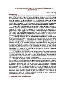 DESARROLLO SOSTENIBLE: EL NUEVO DISCURSO SOBRE EL DESARROLLO