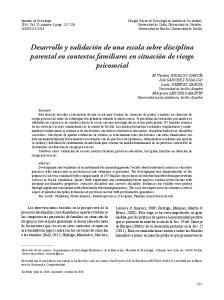 Desarrollo y validación de una escala sobre disciplina parental en contextos familiares en situación de riesgo psicosocial