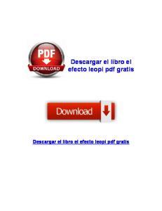 Descargar el libro el efecto leopi pdf gratis