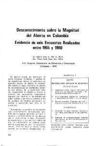 Desconocimiento sobre la Magnitud del Aborto en Colombia