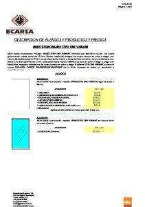 DESCRIPCION DE ALZADOS Y PRODUCTOS Y PRECIOS