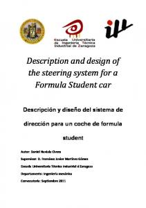 Description and design of the steering system for a Formula Student car