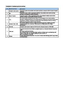Description of selected payment services