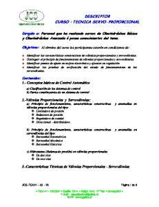 DESCRIPTOR CURSO : TECNICA SERVO-PROPORCIONAL
