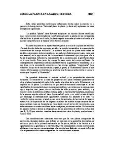 DESDE LA PLANTA EN LA ARQUITECTURA 2004