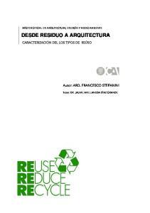 DESDE RESIDUO A ARQUITECTURA