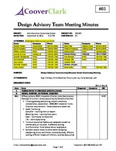 Design Advisory Team Meeting Minutes