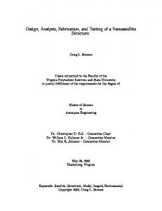 Design, Analysis, Fabrication, and Testing of a Nanosatellite Structure
