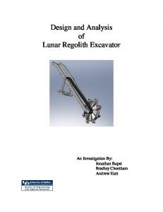 Design and Analysis of Lunar Regolith Excavator