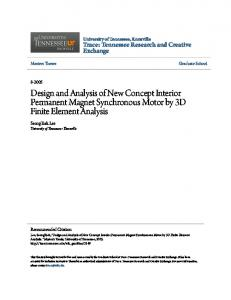 Design and Analysis of New Concept Interior Permanent Magnet Synchronous Motor by 3D Finite Element Analysis