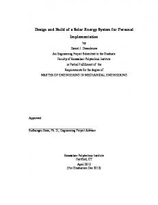Design and Build of a Solar Energy System for Personal Implementation