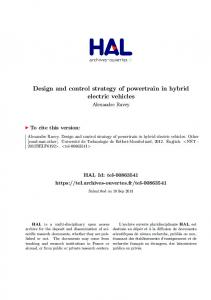 Design and control strategy of powertrain in hybrid electric vehicles