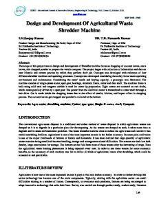 Design and Development Of Agricultural Waste Shredder Machine