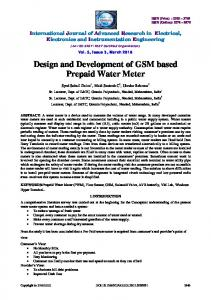 Design and Development of GSM based Prepaid Water Meter