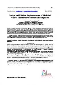 Design and Efficient Implementation of Modified Viterbi Decoder for Communication Systems