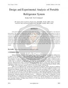 Design and Experimental Analysis of Portable Refrigerator System