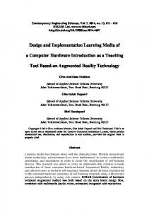Design and Implementation Learning Media of. a Computer Hardware Introduction as a Teaching. Tool Based-on Augmented Reality Technology