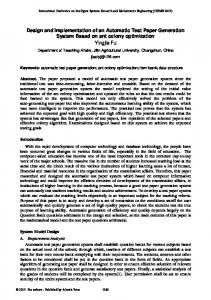 Design and Implementation of an Automatic Test Paper Generation System Based on ant colony optimization Yingjie Fu