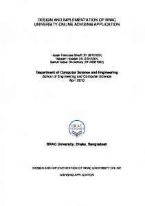 DESIGN AND IMPLEMENTATION OF BRAC UNIVERSITY ONLINE ADVISING APPLICATION