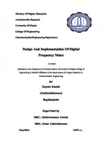 Design And Implementation Of Digital Frequency Meter