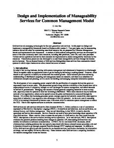 Design and Implementation of Manageability Services for Common Management Model