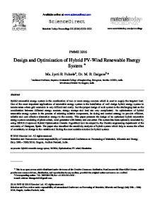 Design and Optimization of Hybrid PV-Wind Renewable Energy System