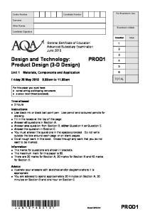 Design and Technology: Product Design (3-D Design)