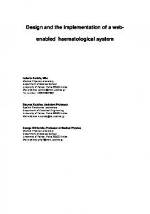 Design and the implementation of a webenabled. haematological system