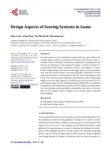 Design Aspects of Scoring Systems in Game