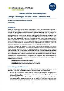 Design challenges for the Green Climate Fund