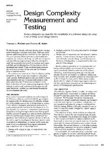 Design Complexity Measurement and Testing