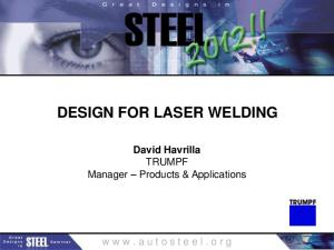 DESIGN FOR LASER WELDING